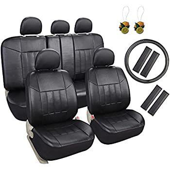 leader accessories 17 pcs universal fit interior decor pu leather car seat covers combo pack black