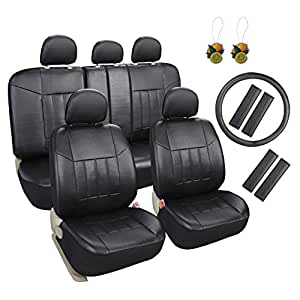 leader accessories 17 pcs universal fit interior decor leather car seat covers combo. Black Bedroom Furniture Sets. Home Design Ideas