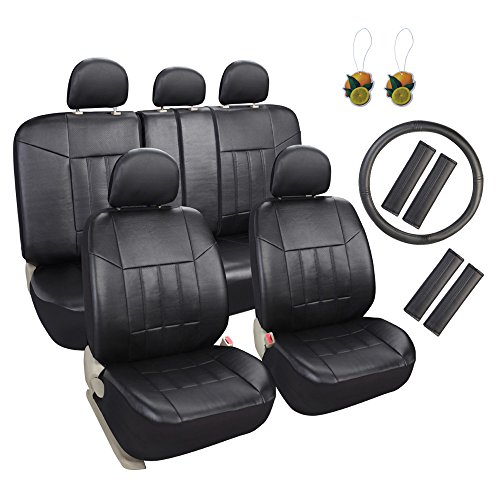 (Leader Accessories 17pcs Black Faux Leather Car Seat Covers Full Set Front + Rear with Airbag Universal Fits for Trucks SUV Included FREE Steering Wheel Cover/Seat Belt Covers)