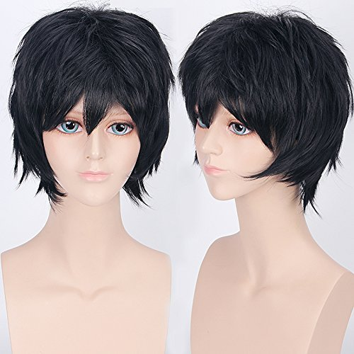 2-5 Days Delivery Unisex Japanese Anime Cosplay Wigs black Synthetic Short Full Party Costume Wig Layered with Bangs and Cap Halloween Wigs for Women Men Girl Boy Teens (black)