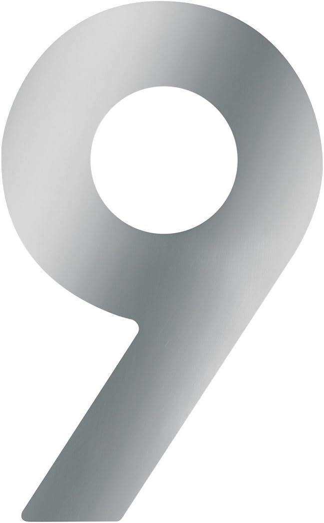 Metafranc Hausnummer 9 Gute Lesbarkeit Edelstahl Individuelle Kombinationsm/öglichkeiten // Beschriftung // Kennzeichnung // Ziffer // Haust/ür // Hauswand // Gartentor // 424087 3D Design 120 mm
