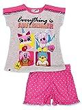 Lego Movie 2 The Second Part 2 Piece Girl's Short Sleeve Tee Shorts Pajamas Set (7-8, Pink/Grey)