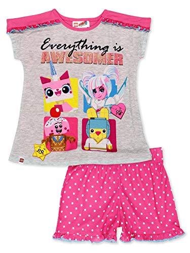 ( Lego Movie 2 The Second Part 2 Piece Girl's Short Sleeve Tee Shorts Pajamas Set (10-12, Pink/Grey)  )