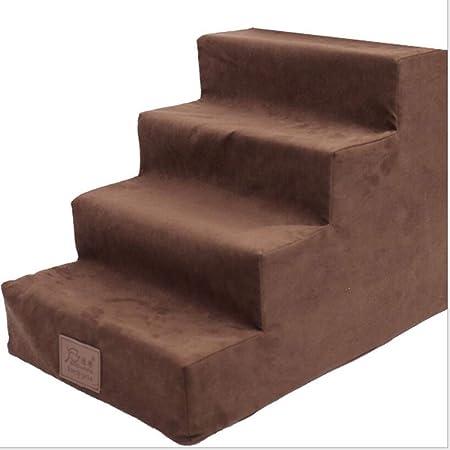 Zll Escalera de la Cama para Mascotas Perro pequeño Escaleras de Peluche 4 Pasos Subir sofá Escalera para Perro Gato animalito hasta 5 KG,Coffee: Amazon.es: Hogar