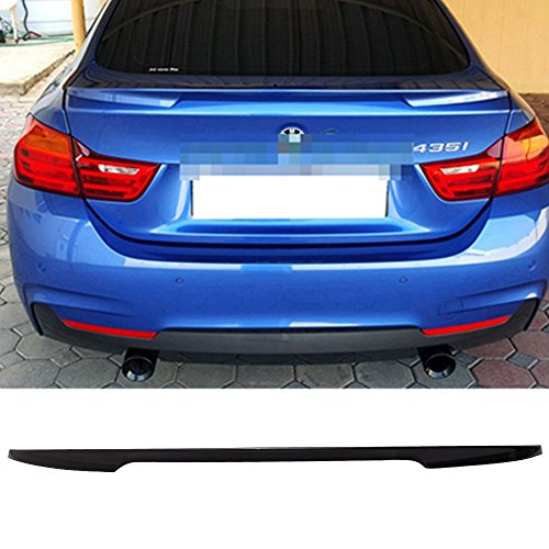 Pre-painted Trunk Spoiler Fits 2014-2018 F36 4 Series | P Style ABS Painted #475 Black Sapphire Metallic Rear Tail Lip Deck Boot Wing Other Color Available By IKON MOTORSPORTS | 2015 2016