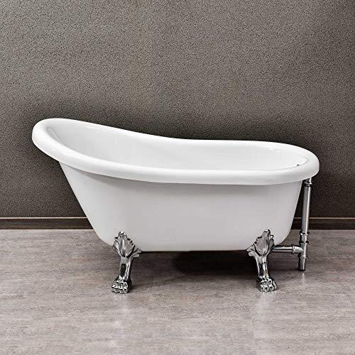 WOODBRIDGE 1 B-0021 54' Traditional Oval Acrylic Freestanding Clawfoot Tub | White Double Slipper Bathtub with Feet in Polished Chrome Finish for Bathroom