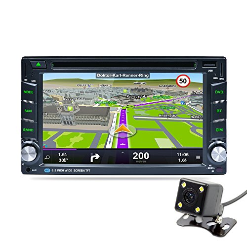 Naladoo 6.2 Inch Double Din GPS Navigation 1080P WIFI Bluetooth AM FM Stereo HD Touch Screen Support DVD/CD Android 5.1.1 With Back Up Camera by Naladoo