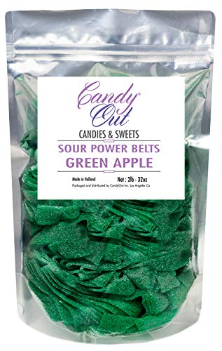 CandyOut Sour Candy Belts Green Apple 2 Pound in Resealable Stand Up Bag ()