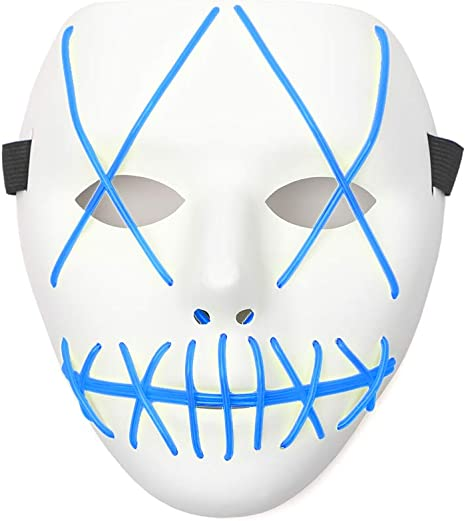 HXW Scary LED Mask Halloween Costume Light up Mask Cosplay EL Wire Mask Glowing mask