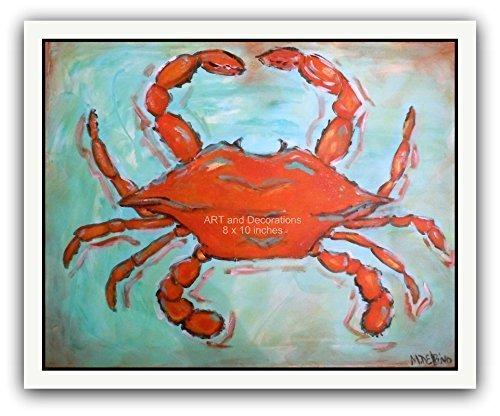 Crab painting print, nautical ocean art, Beach House wall art Maryland Crab art (Maryland Crab Houses)