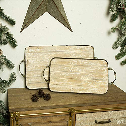 1 Pair Galvanized Iron Tray Rustic Christmas Serving Tray Decors TkLinkin17 from Unknown