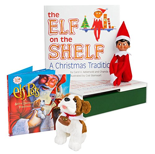 The Elf on the Shelf: A Christmas Tradition - Brown Eyed North Pole Elf Boy with Elf Pets: A Saint Bernard (Dog Elf Outfit)