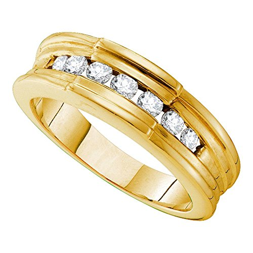 (Mens Diamond Wedding Band Solid 14k Yellow Gold Ring Ridged Edges Channel Set Polished Finish 1/2 ctw)