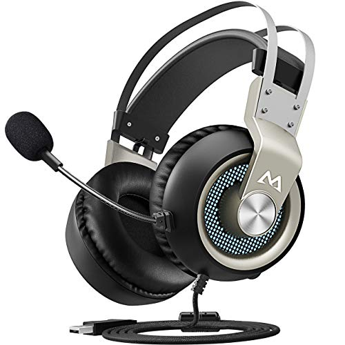 Mpow EG3 Gaming Headset, 7.1 Surround Sound Gaming Headphones, 50mm Driver, Stereo USB Headset with Noise Cancelling Mic, Over Ear Soft Memory Earmuff, LED Light, Easy Volume/Mic Control for PC, (Personal Audio Surround Sound Headphones)