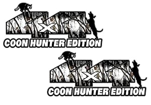 Amazoncom X Coon Hunter Edition Snow Camo X Set Of - Hunting decals for truckshuntingfishing window decals in white or camouflage at woods
