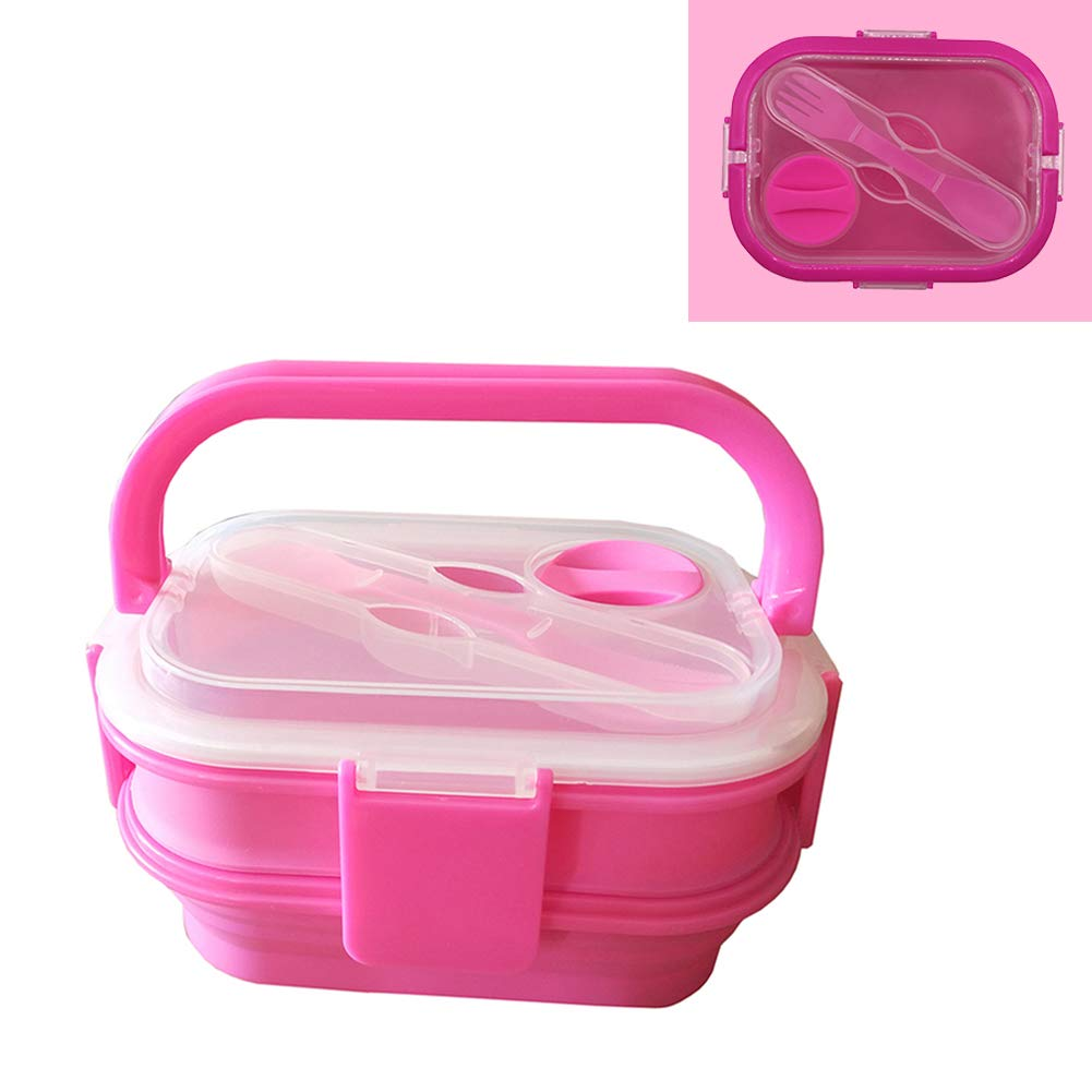 DBL-XZT Pink Double-Layer Silicone Folding Lunch Box, Oven Microwave Lunch Box Student Portable Portable Folding Food Storage Box