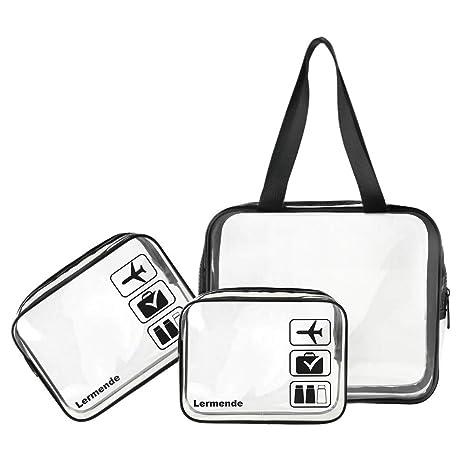 Amazon Com 3pcs Lermende Tsa Approved Clear Toiletry Bag Set 3 1 1