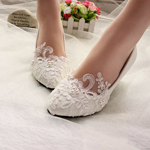 """JINGXINSTORE 5 cm/2"""" los talones de encaje blanco perla zapatos de boda novias nupcial bajo el talón de tamaño de bomba 5-11.5,blanca,US 7"""
