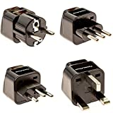 European Travel Adapter Plug Set - Pack of 4 Universal Outlet...