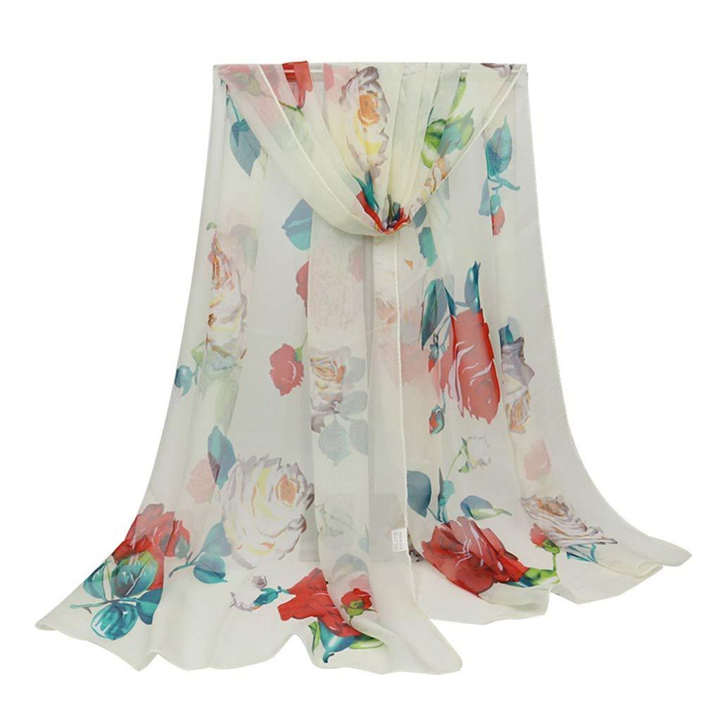 E-Clover Lightweight Chiffon Sheer Scarves: Women's Pretty Rose Print Scarf (Beige3)
