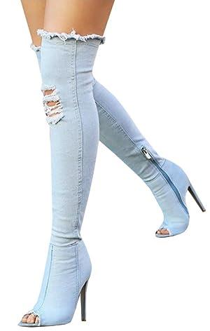 Jiujiuyi Women's Denim Over The Knee Open Toe Thigh High Heels Stiletto Boot
