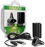 Tomee : Kit de charge noir (chargeur + batterie) pour manette sans fil sur console XBOX360