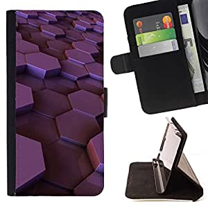 Momo Phone Case / Flip Funda de Cuero Case Cover - Hexágono púrpura brillante ciruelo 3D dimensional - Huawei Ascend P8 (Not for P8 Lite)