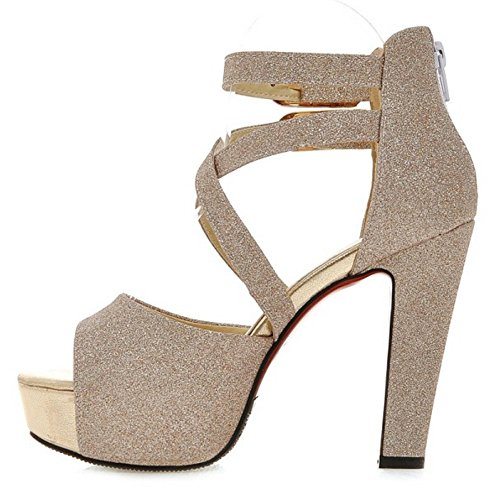 Women TAOFFEN Heel Sandals Fashion Party High Gold zTdTqP