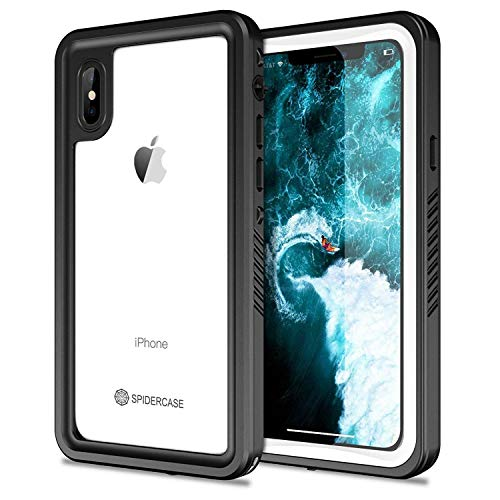 SPIDERCASE iPhone X/iPhone Xs Waterproof Case, Dustproof Snowproof Shockproof IP68 Certified Waterproof iPhone X/iPhone Xs Case with Built-in Screen Protector for iPhone X/iPhone Xs
