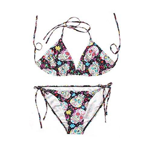 ZAMME Trajes de baño de bikini impreso 3D triángulo de las mujeres Cráneo de Rose