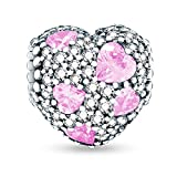 Glamulet Art - Shimmering Pink Heart Charm -- 925 Sterling Silver