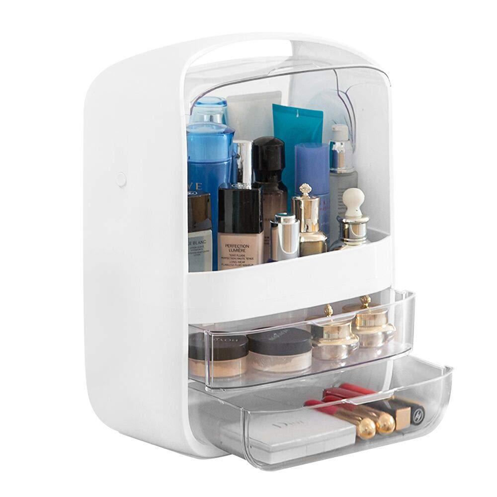 B BAIJIAWEI Dust-Proof Makeup Organizer – Cosmetic Jewelry Storage Display Boxes with Drawers,Handle,Waterproof Lid – Makeup Storage for Bathroom,Bedroom,Dressing Room