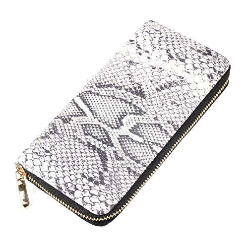 - Animal Print Zip Around Wallet - Pattern Zipper Clutch Purse Card & Phone Slots Elephant, Flamingo,Butterfly, Leopard, Zebra (Snake Skin)