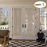 natural linen curtain panels - H.VERSAILTEX Natural Linen and Poly Semi-Sheers Premium Soft Rich Material Curtain Panels with Adjustable Tie-Back for Patio Door/French Door, 52 by 72 - Inches, Taupe, 1 Panel