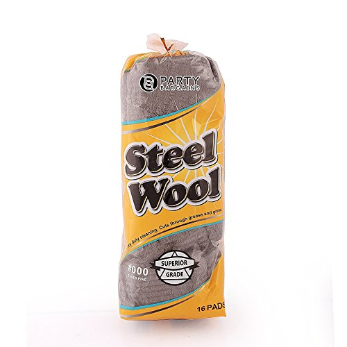 Blue Sky NY Party Bargains Steel Wool Pads | Perfect to Remove grease, Oil and dirt stains from pots, plates, cups, Cookware, glassware and bakeware Kitchen Cleaner - Grade:000 | Pack of 16 (Fine Gauge Wool)