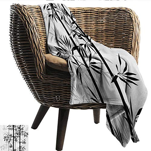 (Tree of Life Baby Blanket Silhouette of Spiritual Bamboo Tree Leaves Japanese Zen Feng Shui Boho Image Recliner Throw,Couch Throw, Couch wrap 91