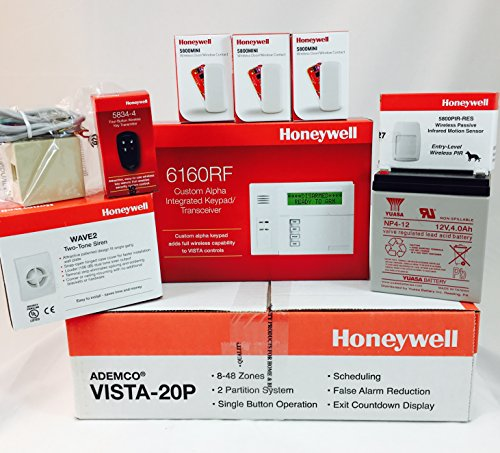 Honeywell Vista 20P, 6160RF Keypad, (3) 5800MINI Door/Win...