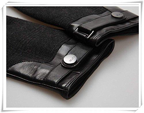 CWJ Leather Gloves Men Winter Warm Patchwork Gloves,Black,Large by CWJ (Image #3)