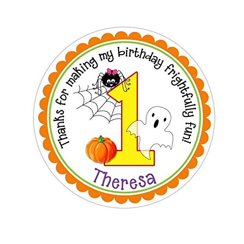Personalized Customized Halloween Party Favor Thank You Stickers - Birthday Ghost Spider Pumpkin - Round Labels - Choose Your -
