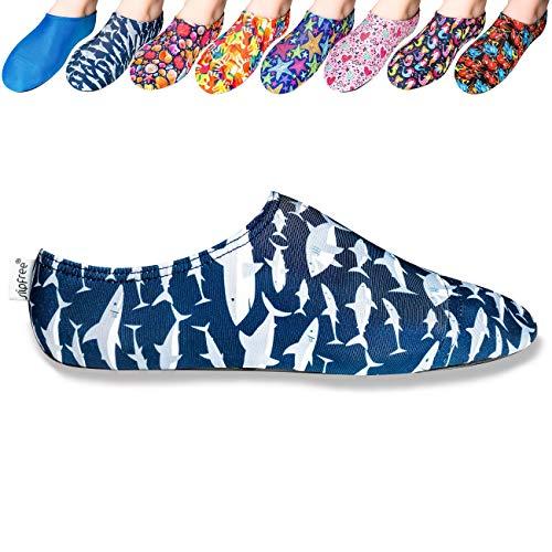 Slipfree Water/Multi Use Shoes - Boys - for Beach, Pool, Home, School, Gym, Boat, Kindergarten, Travel (Medium, Shark)