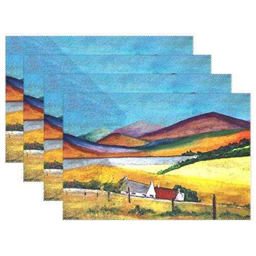 Oil Pastel Artwork Paper Landscape Placemats Heat Insulation Stain Ristant for Dining Table Non-Slip Kitchen Table Place Mats Set of 4]()