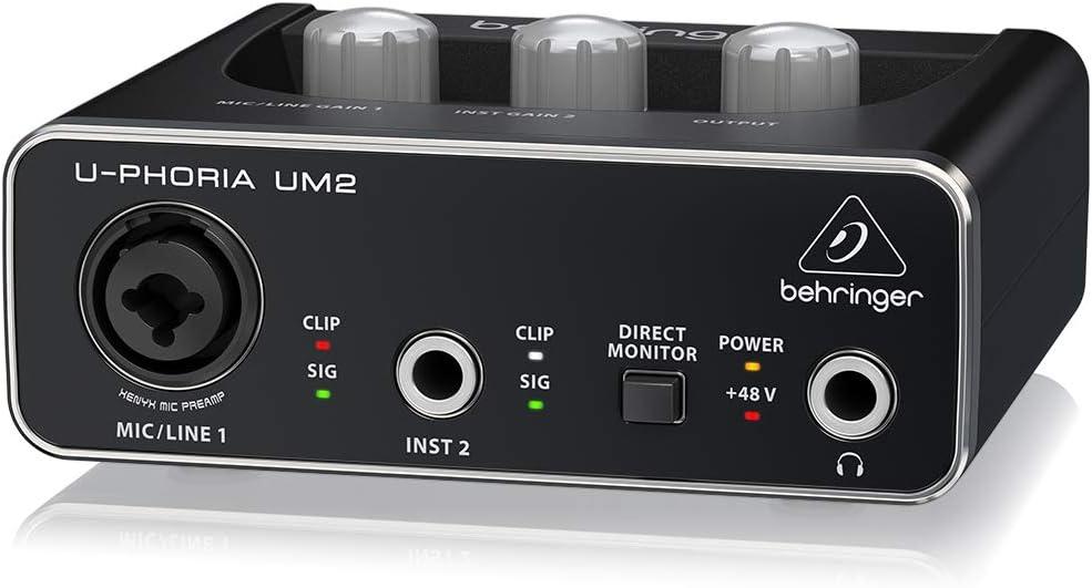 Behringer U-PHORIA UM2 Equipos de m/úsica adicionales Marantz Professional MPM-1000Мicr/ófono de Condensador para grabaciones de Estudio con Soporte de Escritorio y Cable