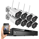 Amcrest 8CH Plug & Play H.265 6MP NVR 2MP 1080P Security Camera System, (8) x 2-Megapixel 3.6mm Wide Angle Lens Weatherproof Metal Bullet WiFi IP Cameras, 98 Feet Night Vision, 2TB HDD, (White)