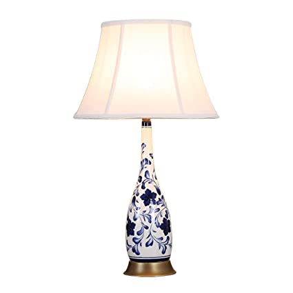 CJH Bedroom Bedside Lamp Ceramic Table Lamp Blue And White ...