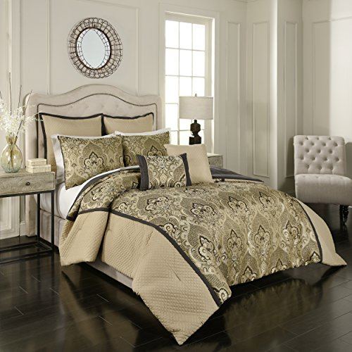 (Vue Signature Sorrento Comforter Set, Queen, Black)
