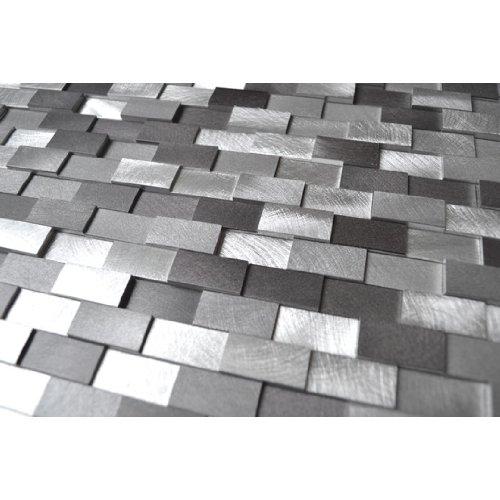 3D Raised Brick Pattern Grey Blends Aluminum Mosaic Tile - Kitchen Backsplash/Bath Backsplash/Wall Decor/Fireplace Surround