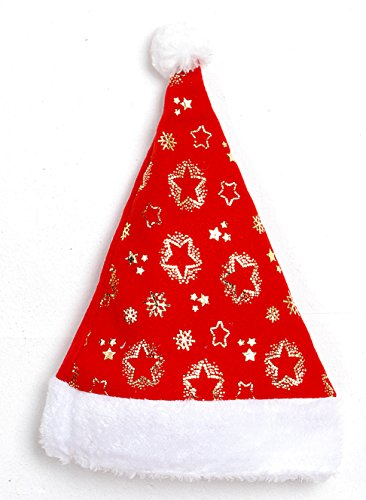 [6 Pcs Star Plush Santa Claus Hat & Comfort Liner Christmas Halloween Costume] (Glitter Beard Costume)