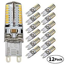 DiCUNO G9 Base LED Light Bulb Soft White 4W(30 Watt Halogen Equivalent) AC110V-240V Chandelier Bulb(Pack of 12)