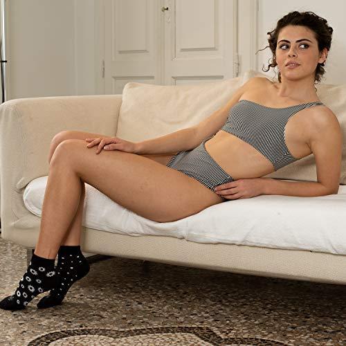 Calcetines de mujer Tiglami Audrey color blanco y negro calcetines de algod/ón peinado calcetines medianos calcetines elegantes Dos tallas disponibles c/ómodos y sin olores