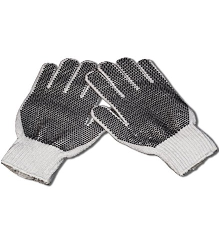 Blacklight Reactive White Heavy Weight White Knit Gloves with Black Dots (Blacklight Gloves)